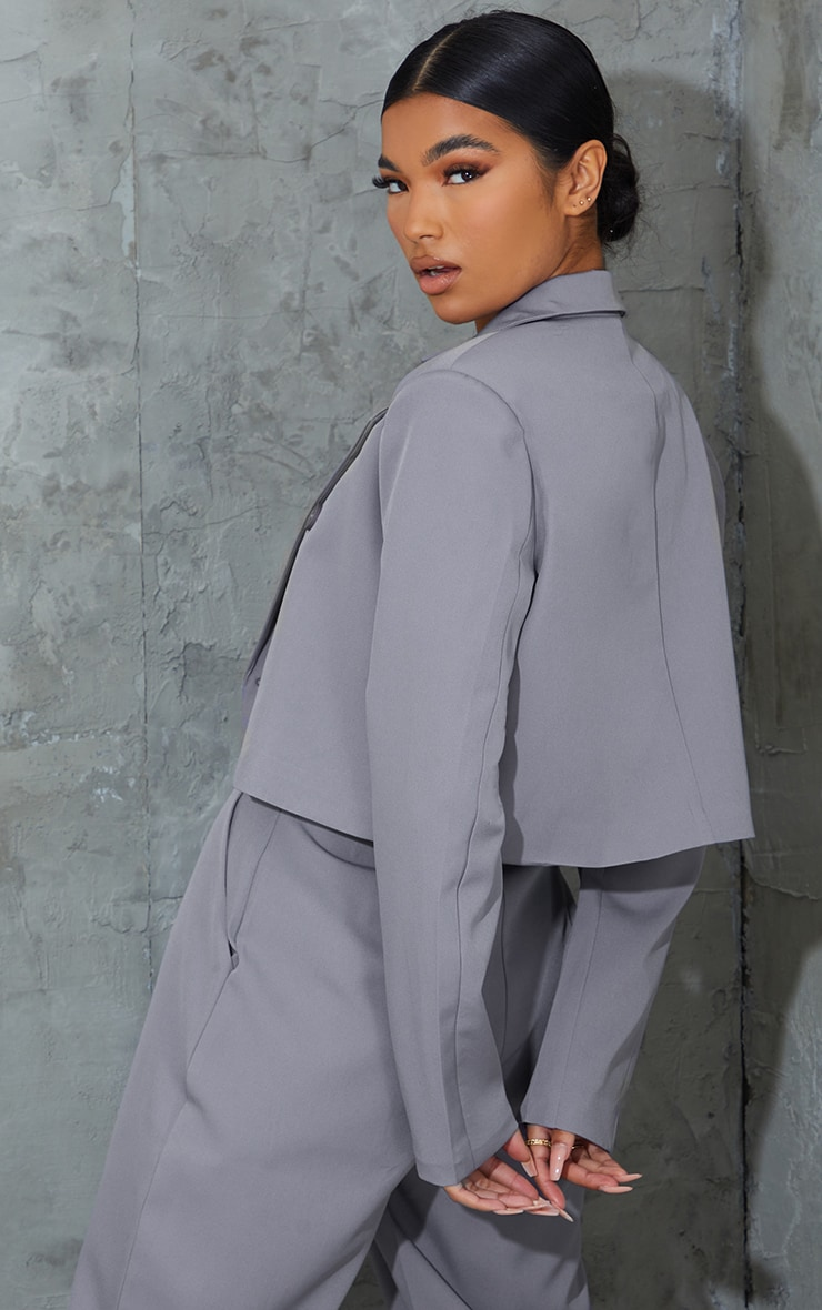 Grey Woven Double Breast Cropped Oversized Blazer 2