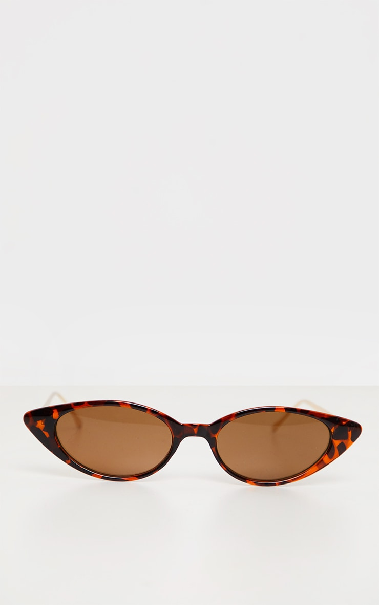 Brown Tortoiseshell Cat Eye Retro Frame Sunglasses 2