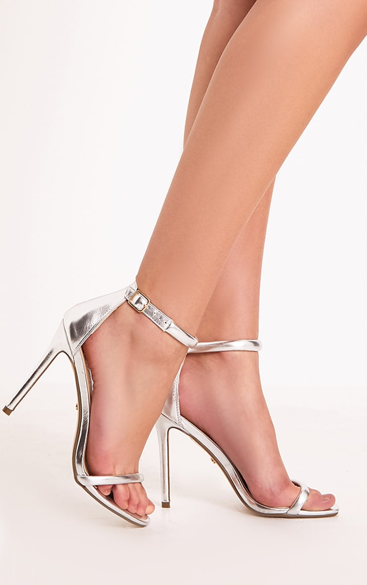 Ruby Silver Square Toe Strappy Heels 1