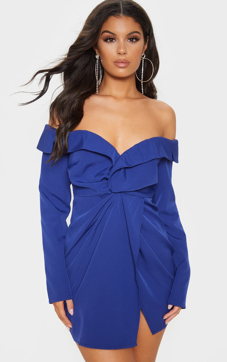 Midnight Blue Bardot Knot Detail Blazer Dress 1