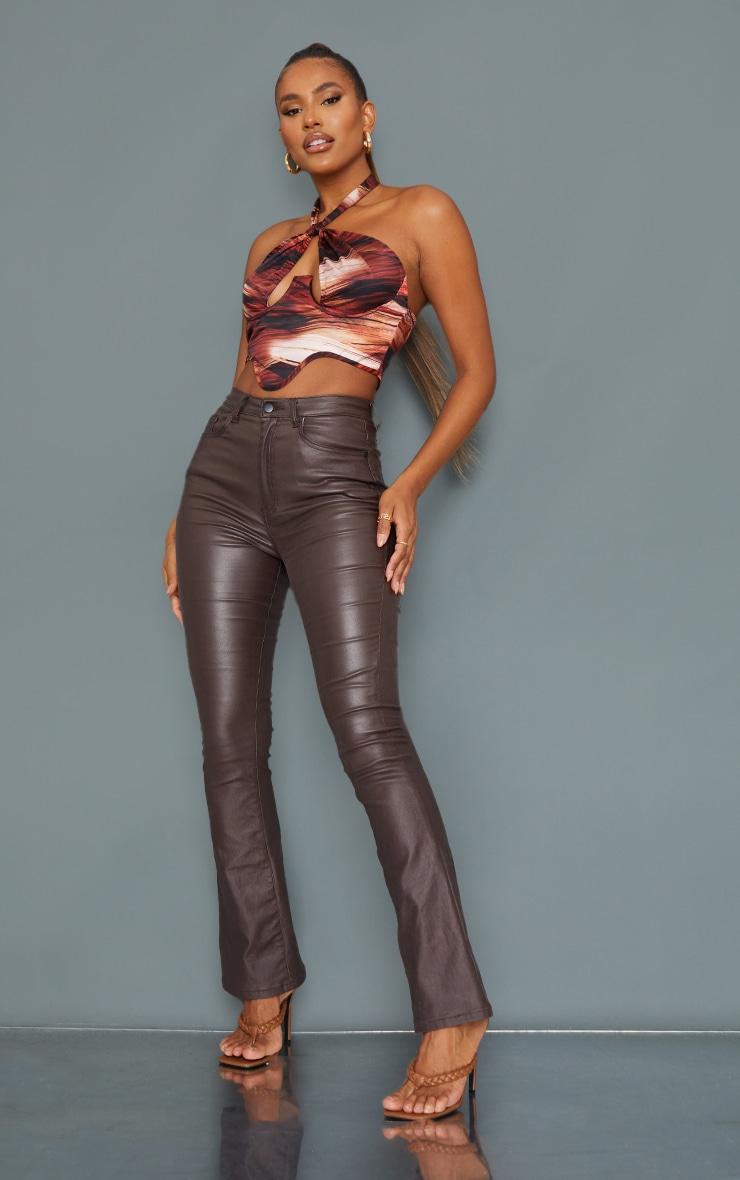 Corset dos nu satiné imprimé abstrait superposé marron à ourlet tombant 3