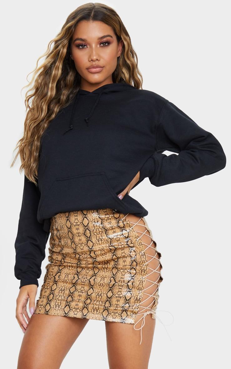 Camel Vinyl Snake Print Lace Up Sides Mini Skirt 6