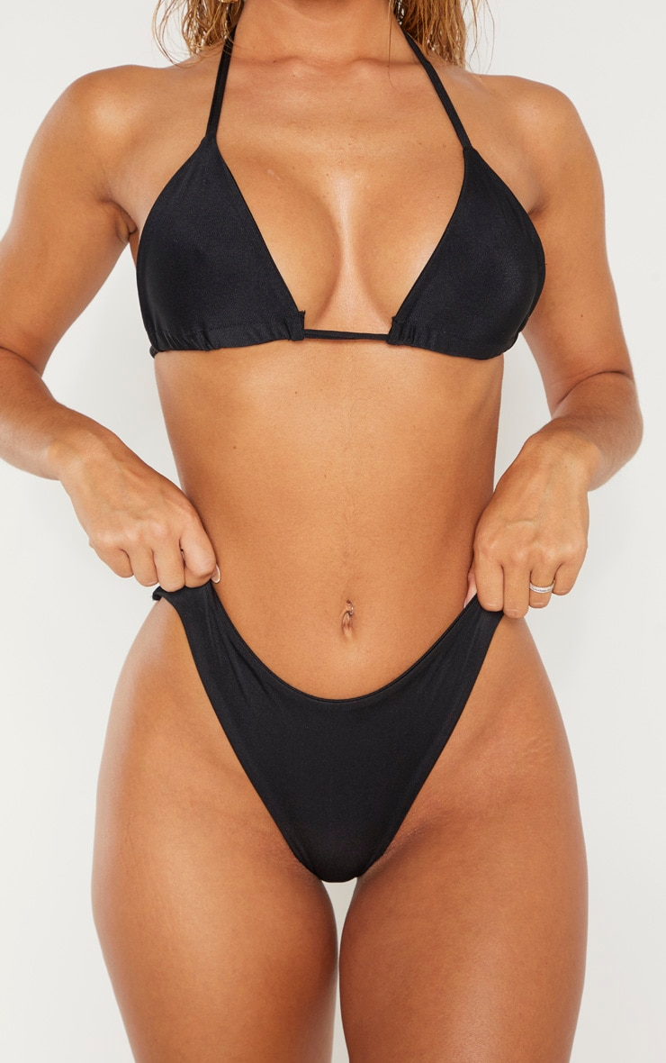 Black Mix & Match Super High Leg Brazilian Bikini Bottom 5