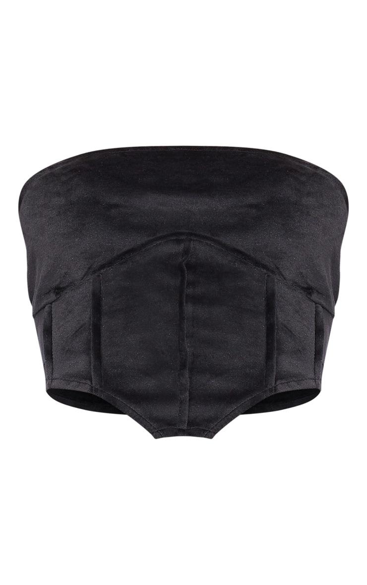 Tall Black Corset Detail Velvet Bandeau 5