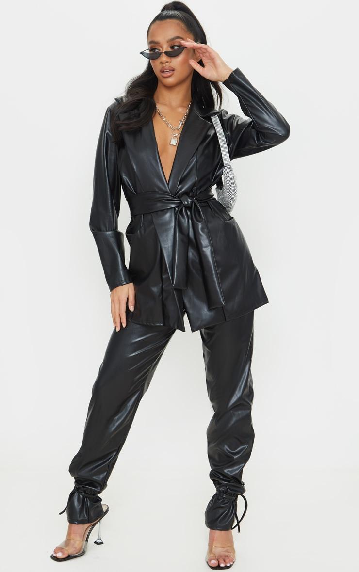 Petite Black Oversized PU Wrap Blazer 3