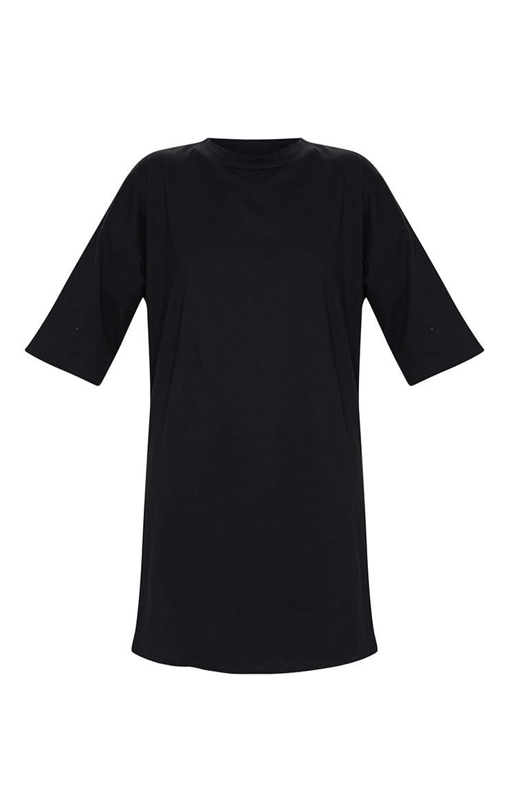 Black Split Oversized Boyfriend T Shirt Dress 5