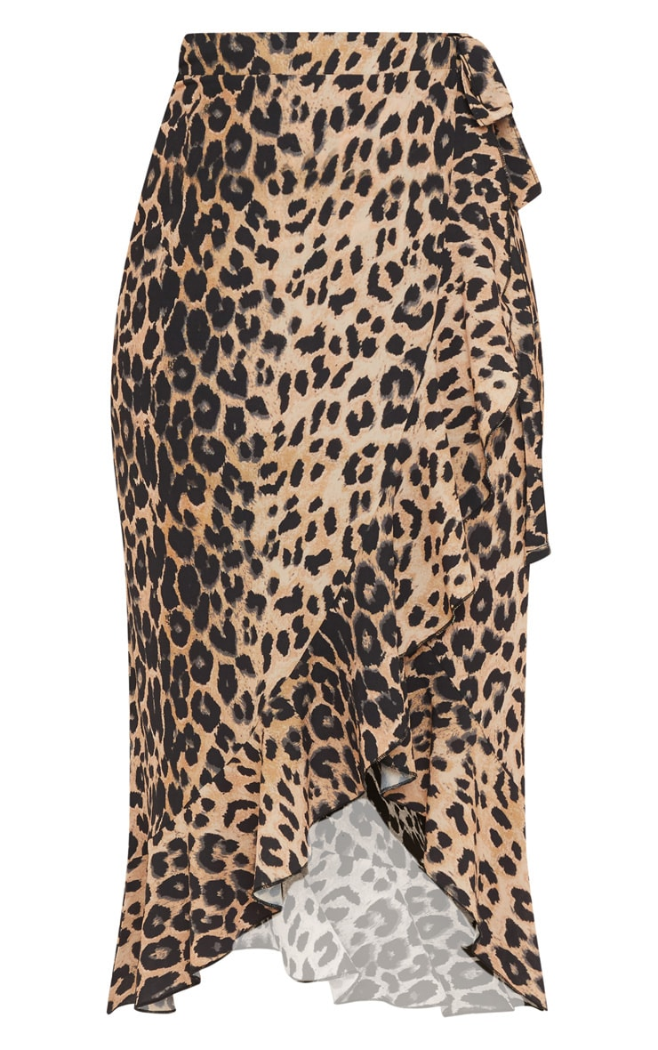 Petite Brown Leopard Print Tie Waist Wrap Skirt 3