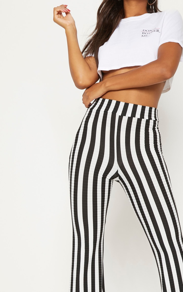 Black Rib Stripe Flare Trouser 5