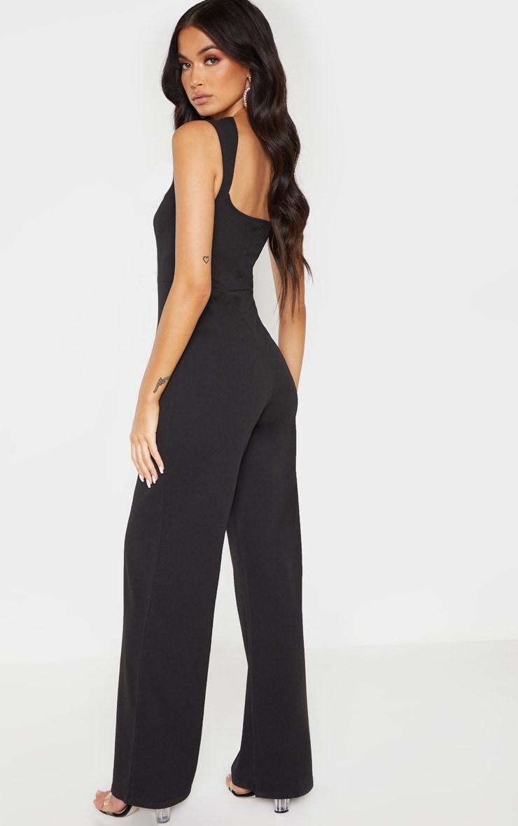 Black Structured Bodice Wide Leg Jumpsuit 2