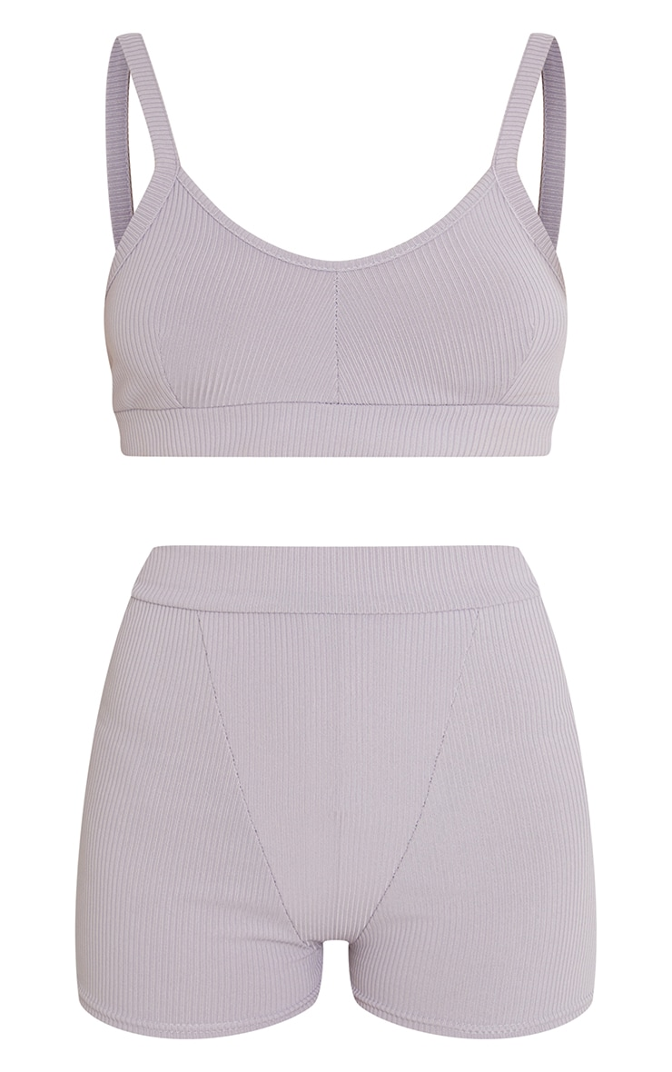 PRETTYLITTLETHING X CoppaFeel! Grey Ribbed Bralet And Shorts Lingerie Set 5