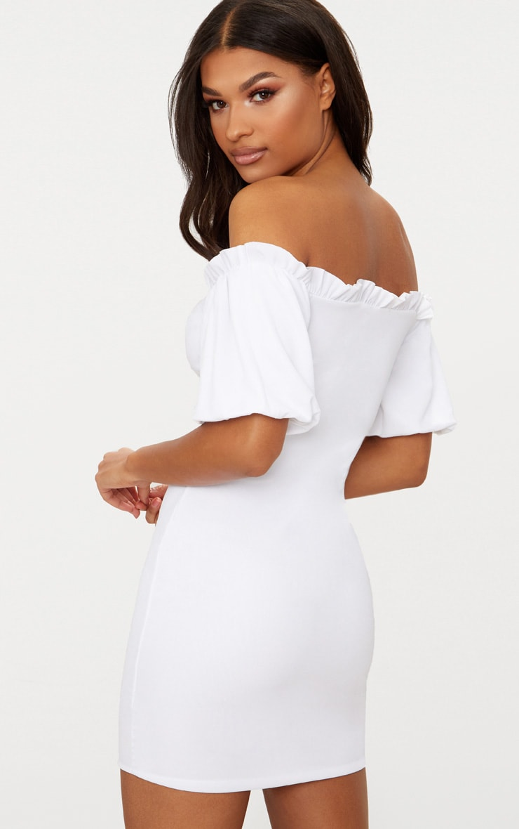 White Frill Trim Bardot Lace Up Detail Bodycon Dress 2