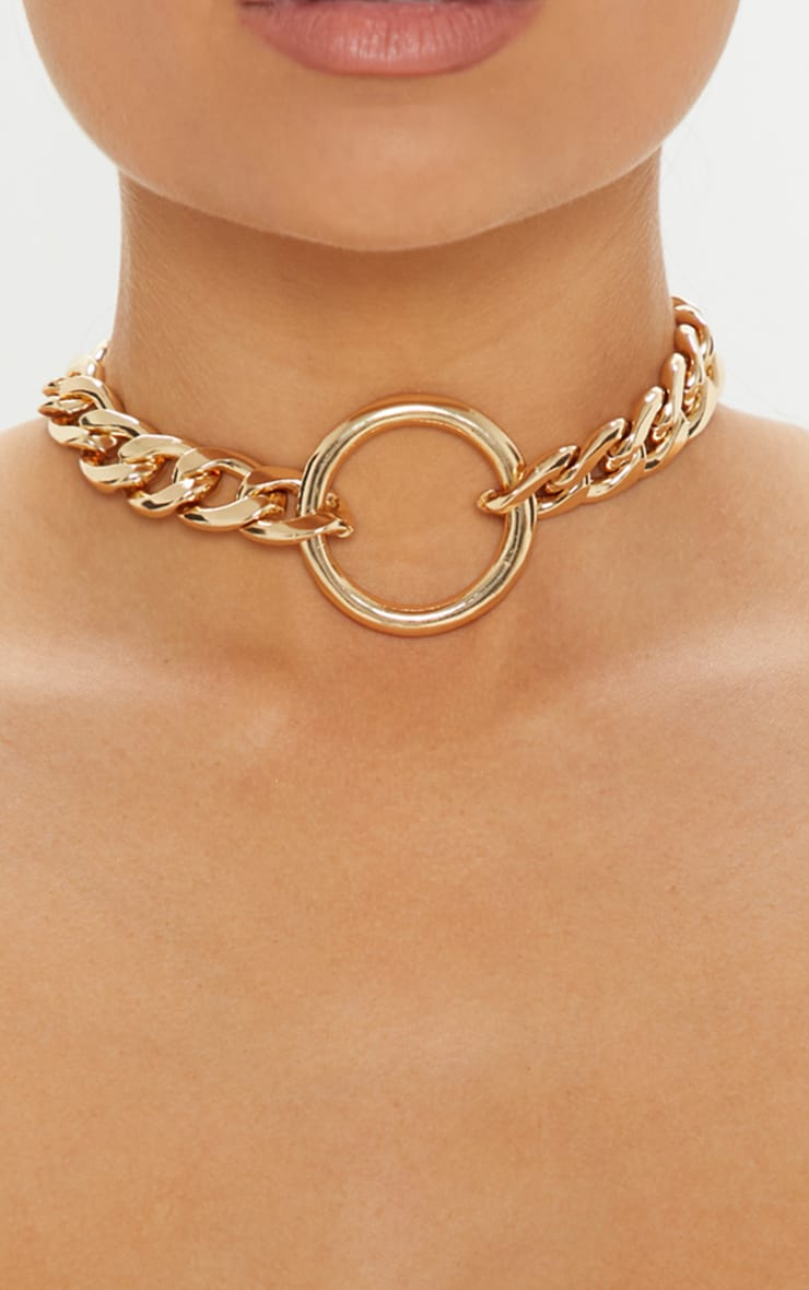 Gold Chunky Chain And Ring Choker 2