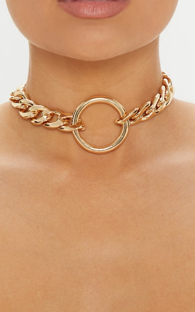 Gold Chunky Chain And Ring Choker