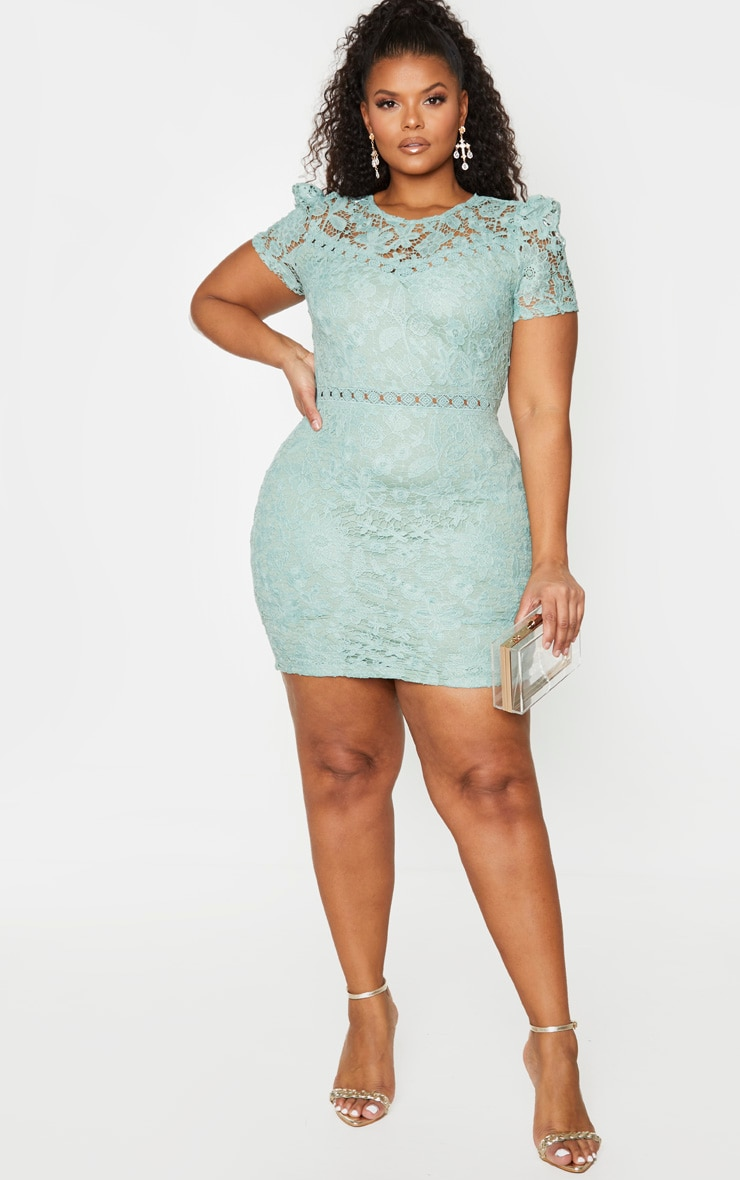 Plus Green Lace Backless Cap Sleeve Bodycon Dress 3