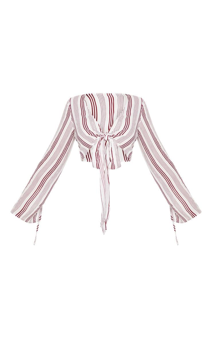 Red Stripe Open Sleeve Tie Crop Top 3