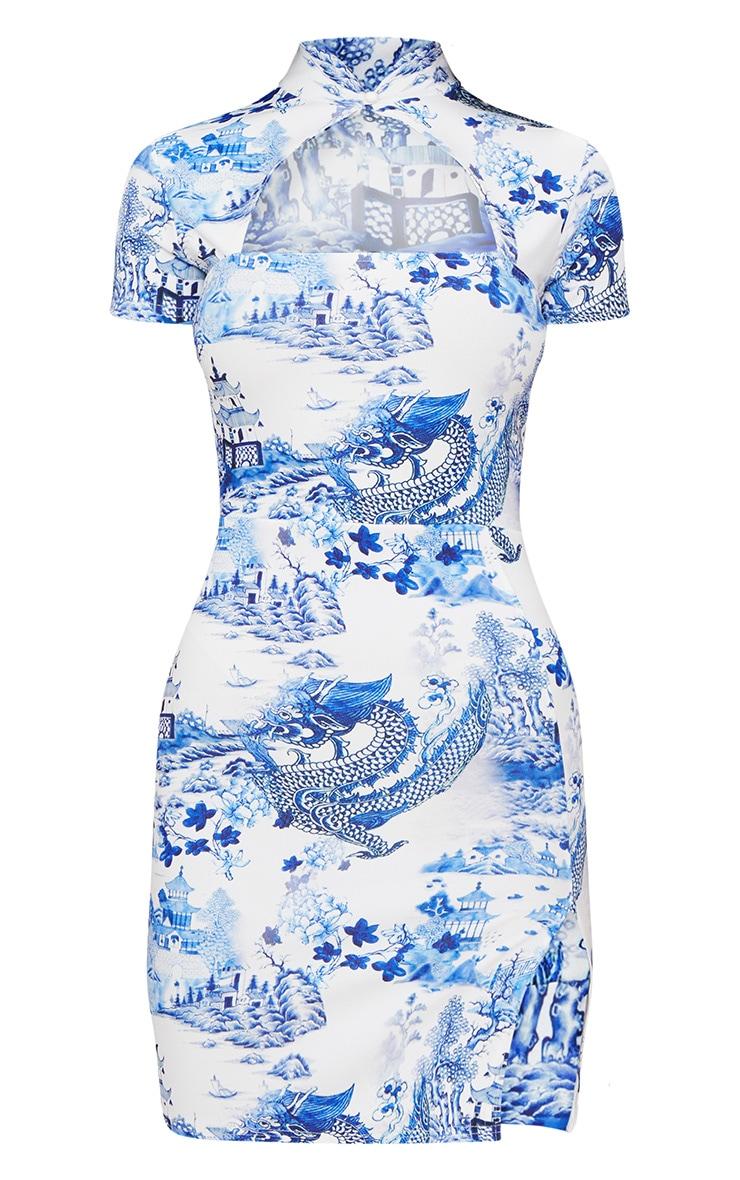 White Porcelain Print Oriental Bodycon Dress 3
