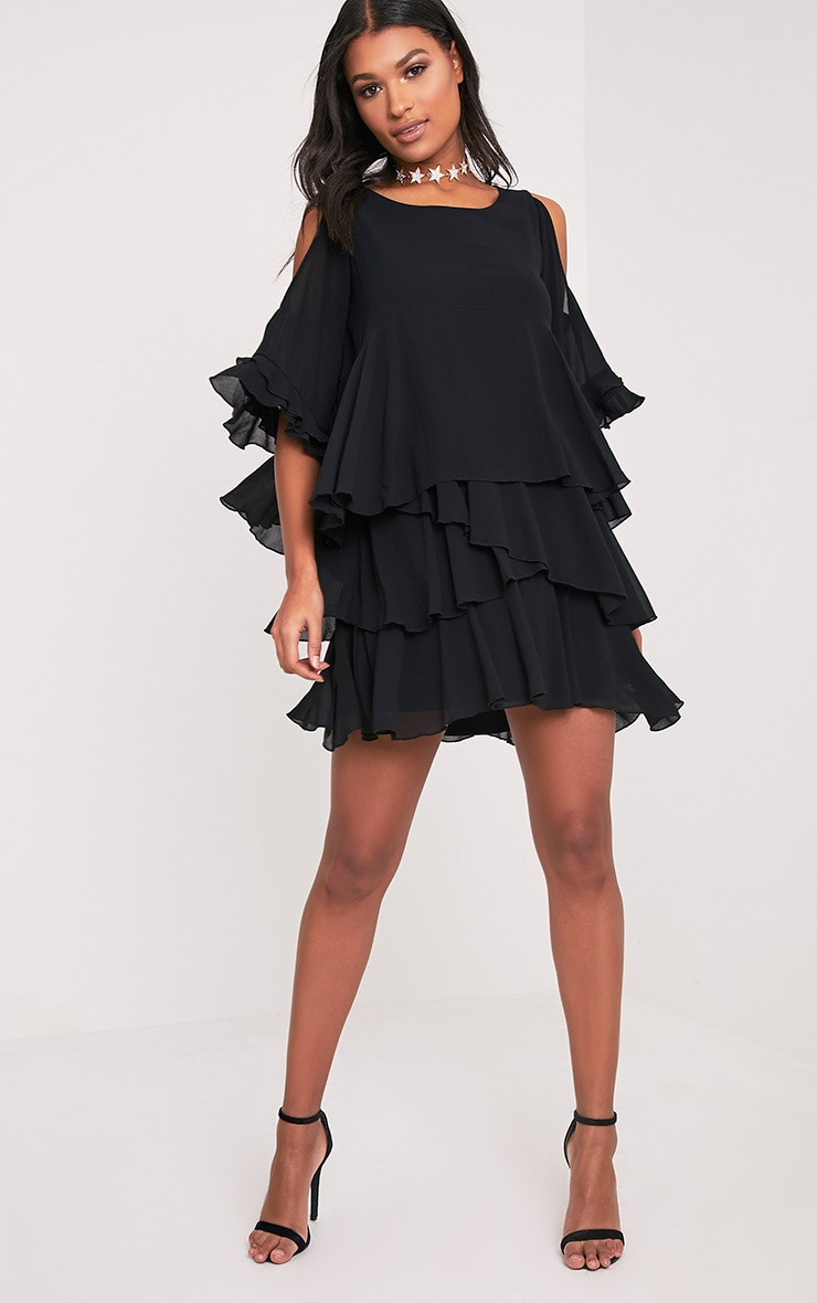 Tessa Black Cold Shoulder Ruffle Swing Dress 1