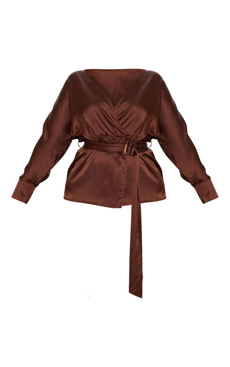 Plus Chocolate Brown Satin Belt Detail Blouse 3