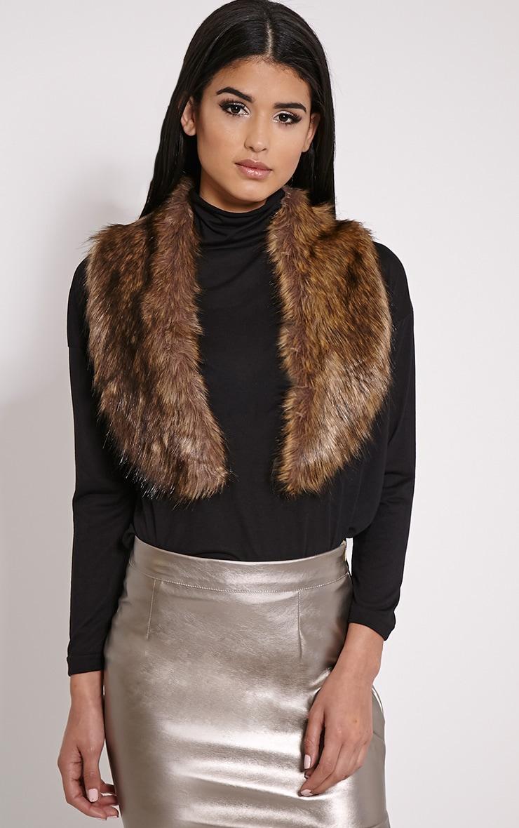 Kira Brown Faux Fur Collar 1