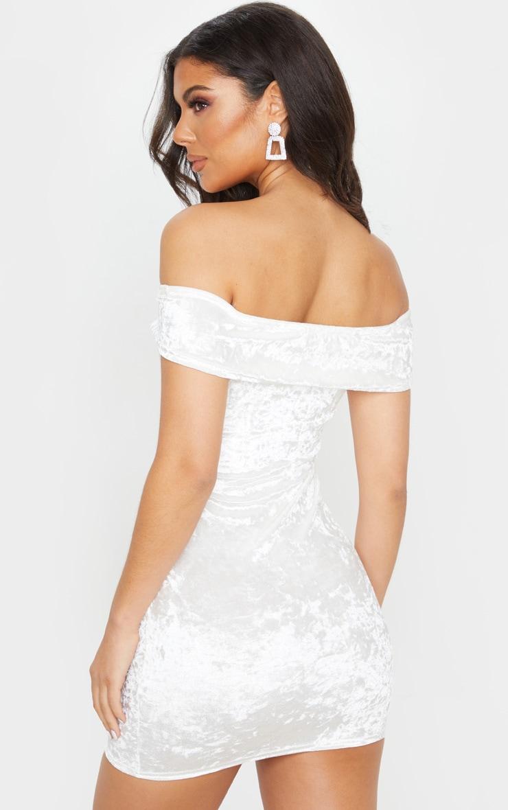 White Crushed Velvet Bardot Bodycon Dress 2