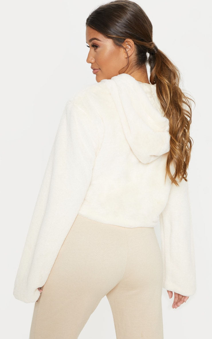 Cream Faux Fur Cropped Hooded Jacket 2
