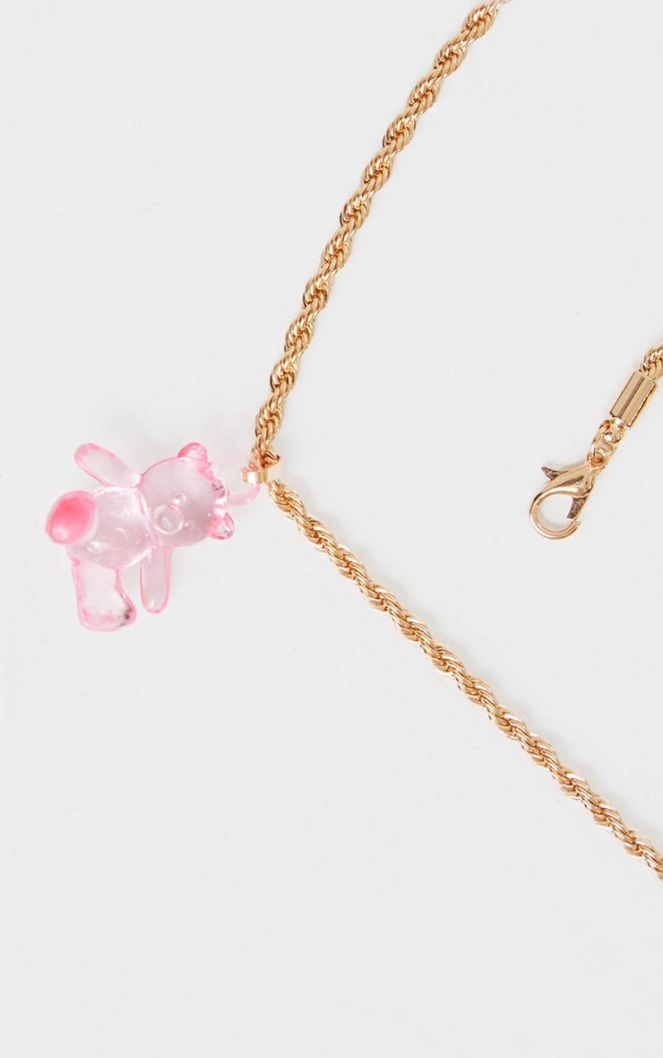 Pink Clear Mini Teddy Bear Necklace 4
