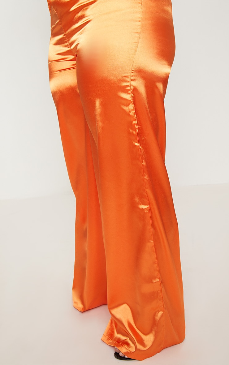 Plus Orange Satin Wide Leg Pants 5