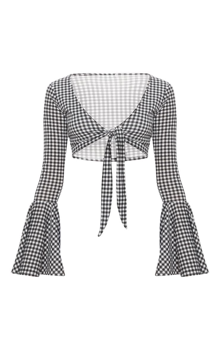 Black Gingham Tie Front Long Sleeve Crop Top 3