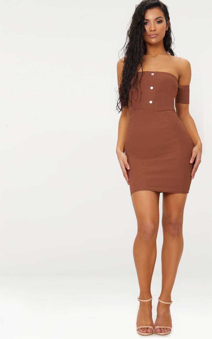 Brown Bardot Popper Detail Bodycon Dress 1