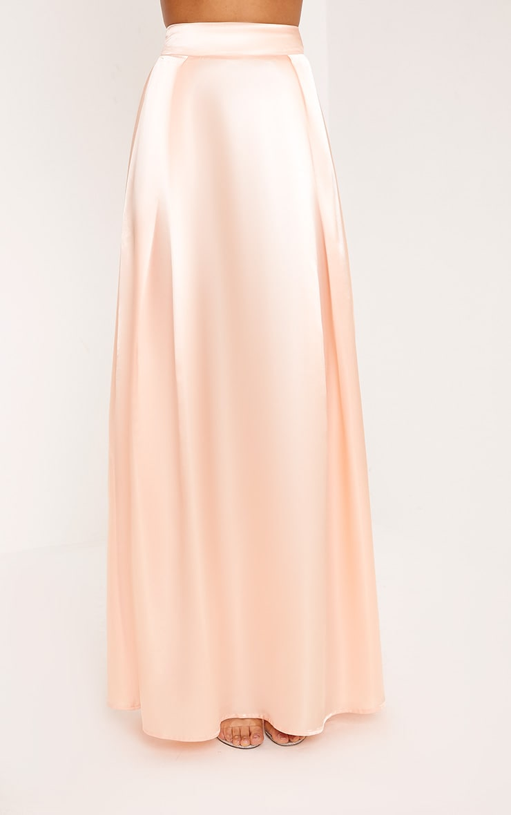 Ruthie Light Peach  Satin Maxi Prom Skirt  2