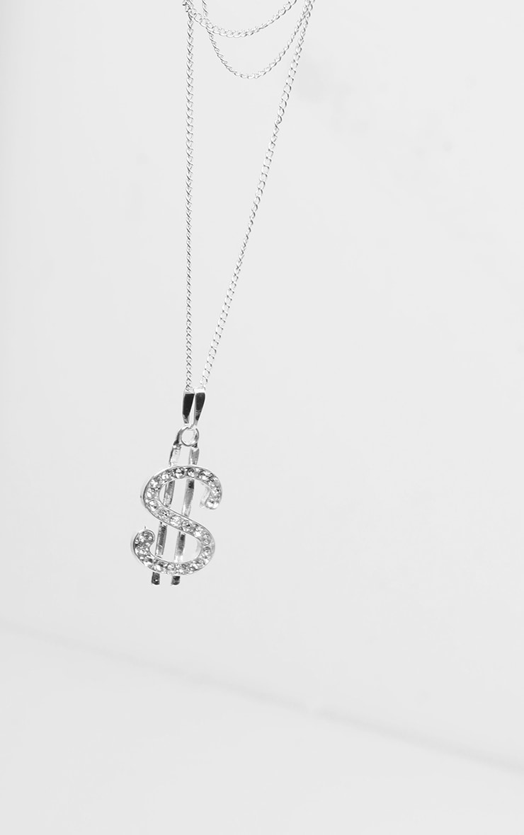 Silver Diamante Dollar Sign Layering Necklace 5