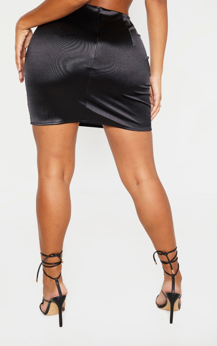 Shape Black Stretch Satin Bodycon Skirt 4