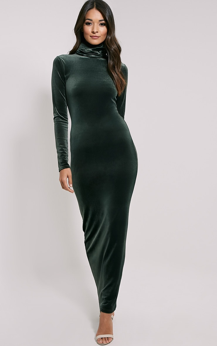 Cindy Khaki Turtle Neck Velvet Maxi Dress 1