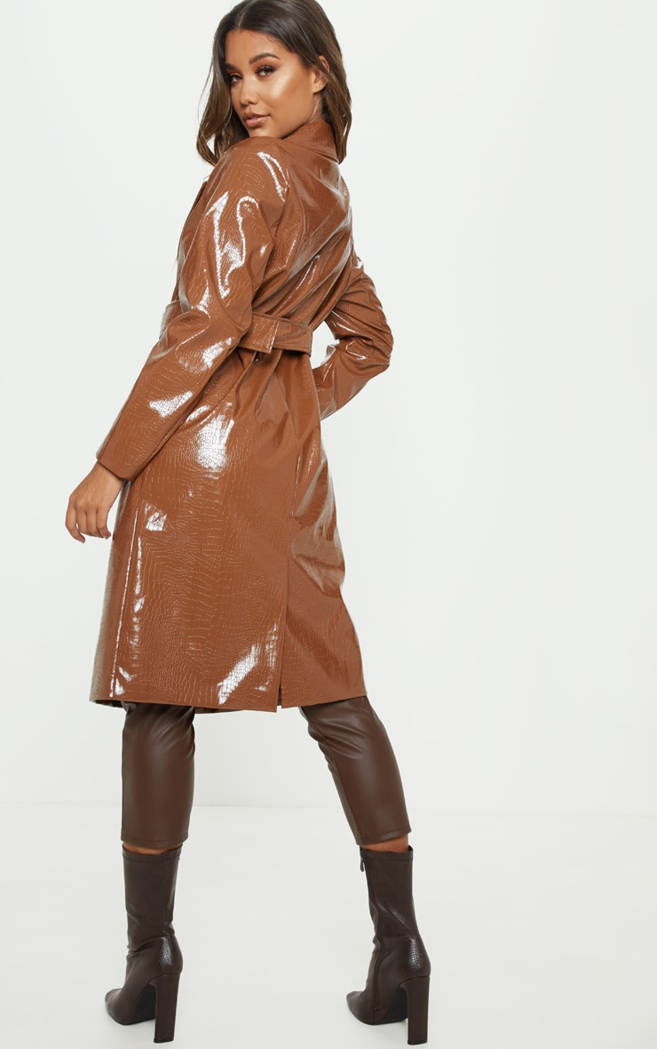 Tan Croc PU Trench 2