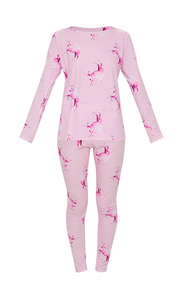 Ensemble de pyjama rose à motifs licornes et manches longues PRETTYLITTLETHING 3