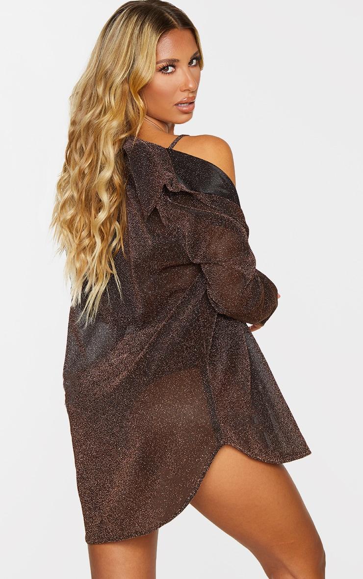 Brown Glitter Oversized Beach Shirt 2