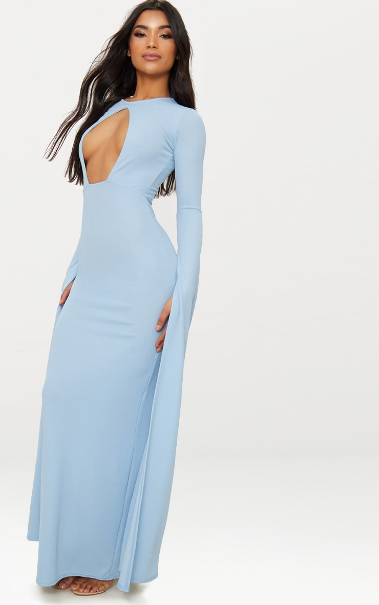 Dusty Blue Cut Out Detail Drape Sleeve Maxi Dress 4