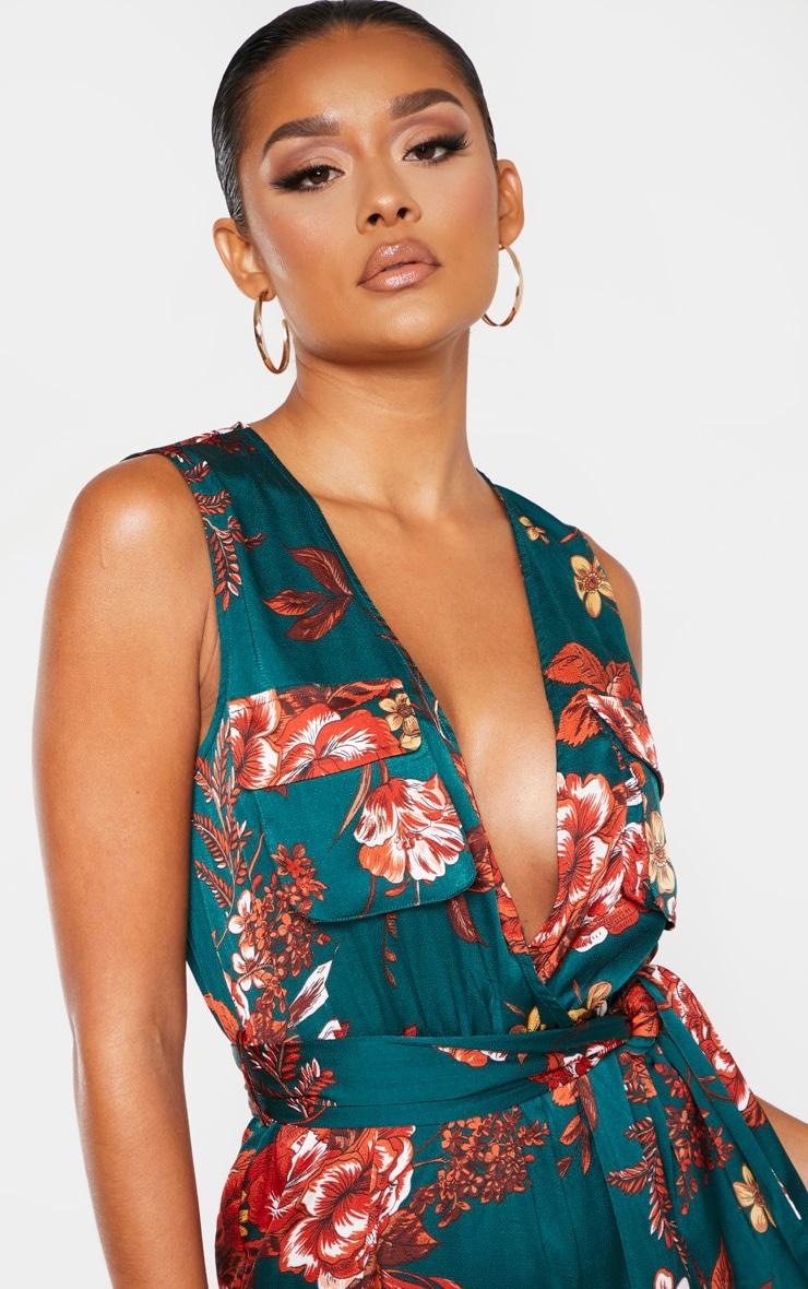 Emerald Green Floral Print Sleeveless Tie Waist Jumpsuit 5