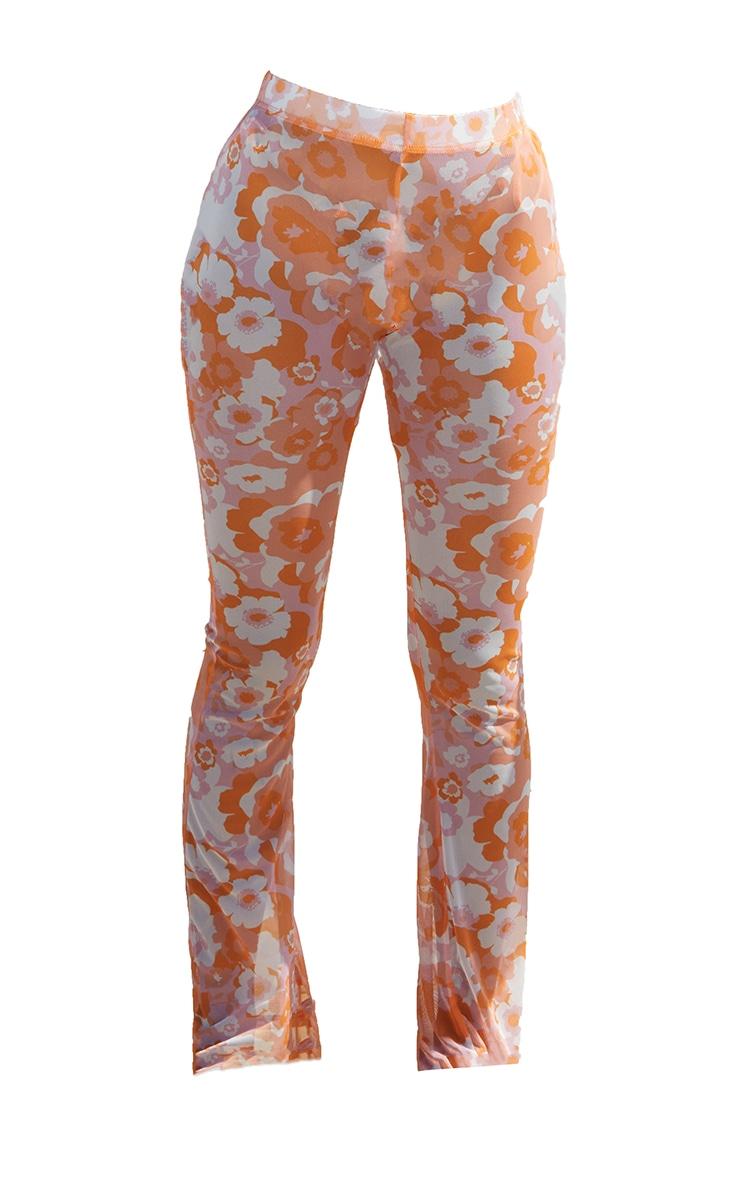 Orange Floral Print Mesh Beach Flares 5