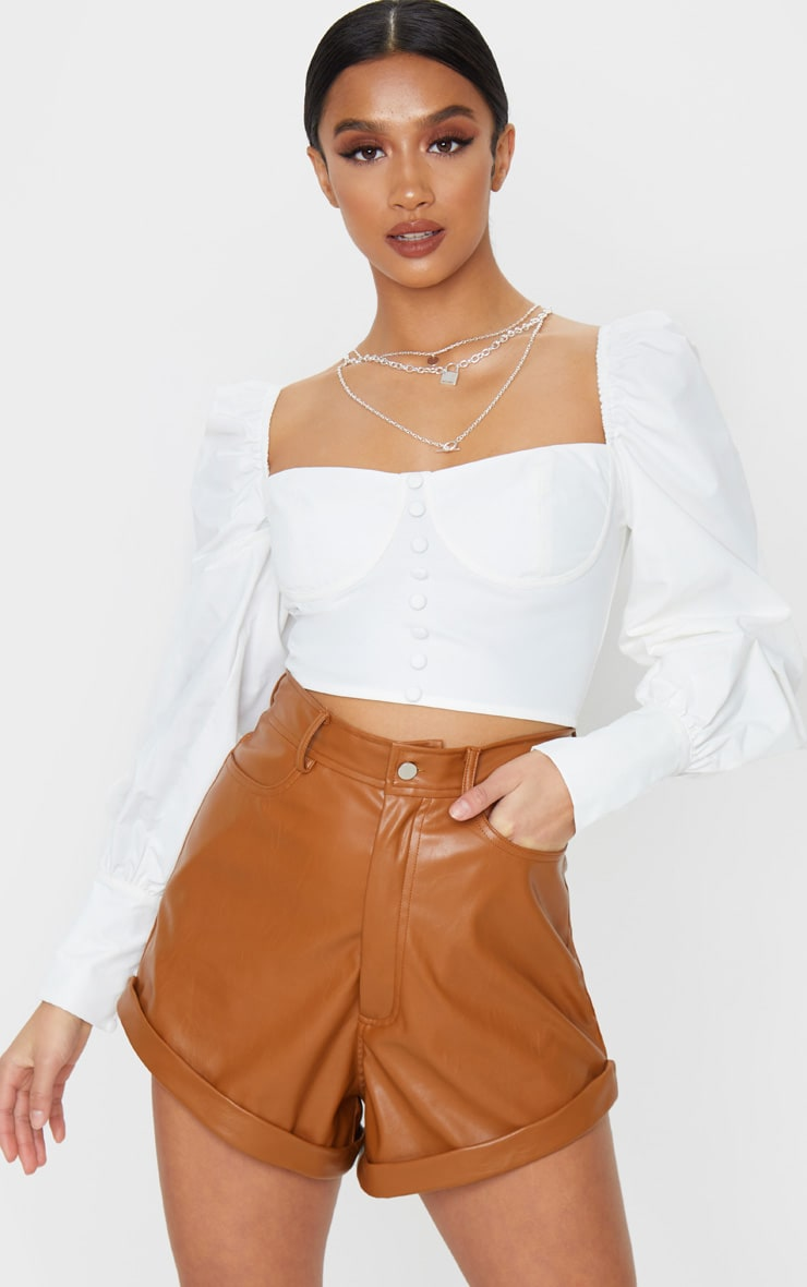 Petite White Tie Back Cup Detail Cropped Blouse 1