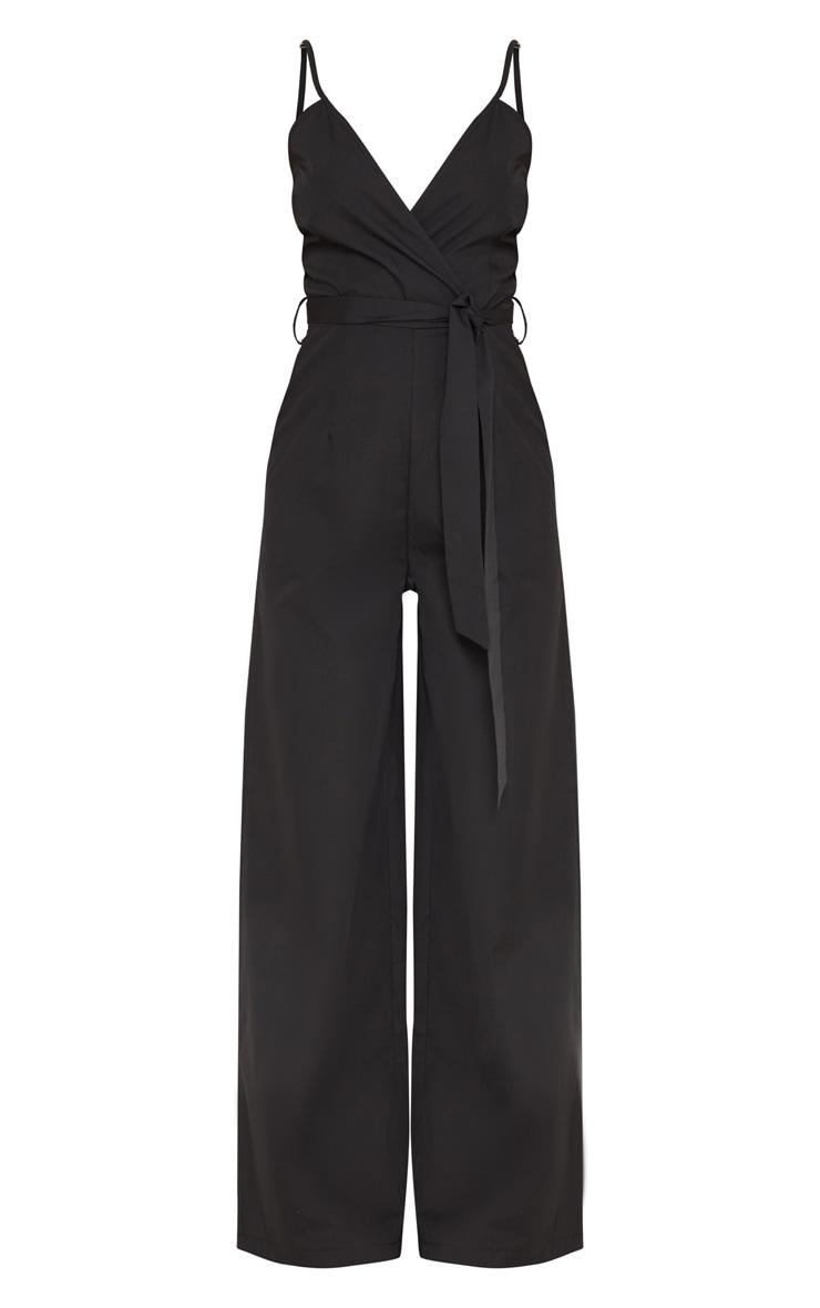 Petite Black Strappy Tie Waist Jumpsuit  3