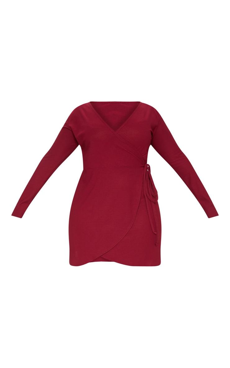 Plus Burgundy Wrap Long Sleeve Tea Dress 3