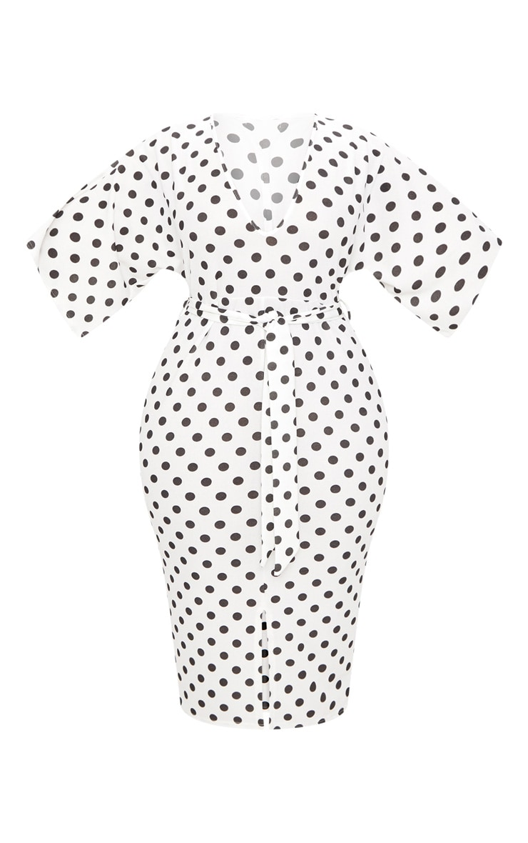 Plus White Tie Waist Polkadot Plunge Kimono Sleeve Midi Dress 3