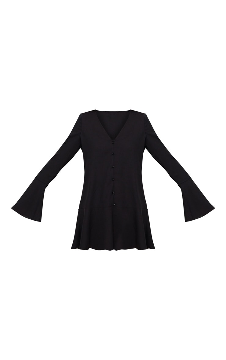Black Button Frill Hem Shift Dress 3