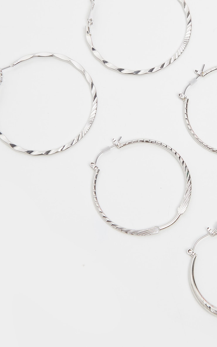 Silver Multi Size Multi Textured Hoop Earring Pack 3