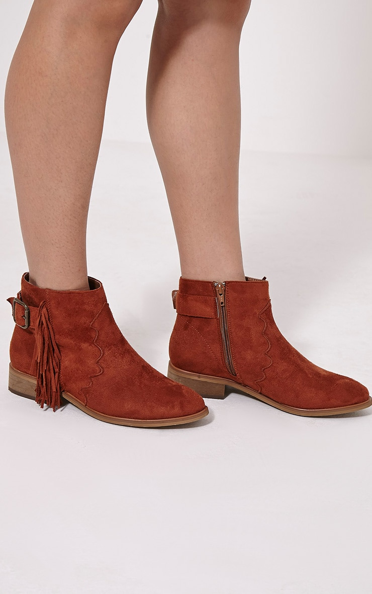 Lane Tan Tassel Faux Suede Buckle Ankle Boots 1