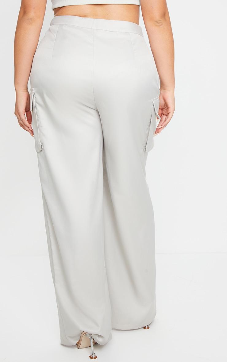 PLT Plus - Pantalon en maille tissée grise à jambes évasées et détail poches 3