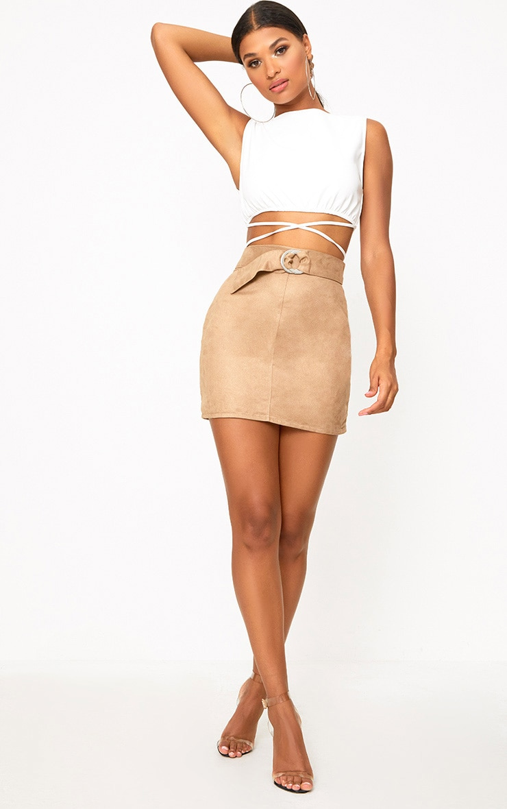 Stone Faux Suede Belted Mini Skirt 5