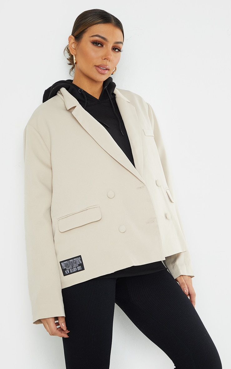 PRETTYLITTLETHING Maternity Stone ARCHIVE Oversized Double Breasted Blazer 1