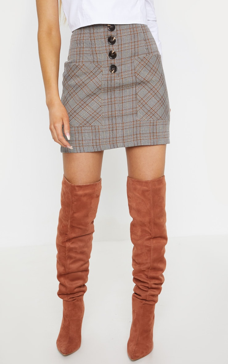 Brown Check Button Mini Skirt  2